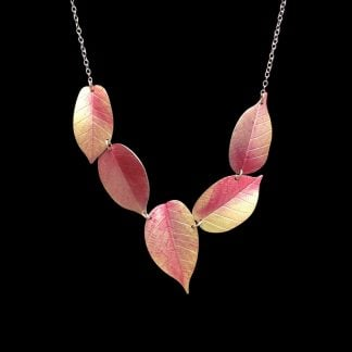 Asymmetric Pink Cherry leaf necklace by Photofinish jewellery