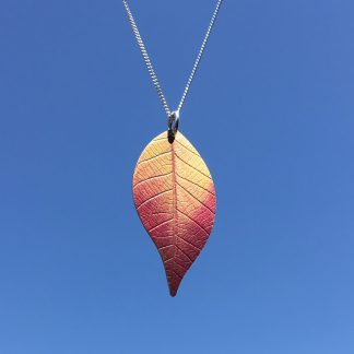 Pink Cherry leaf necklace by Photofinish jewellery