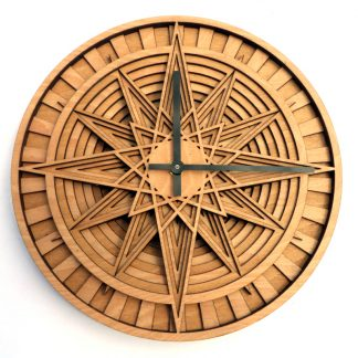Halloween RETRO STYLE WOODEN BOX CLOCK WITH COMPASS SMALL TABLE TOP CLOCKS VINTA