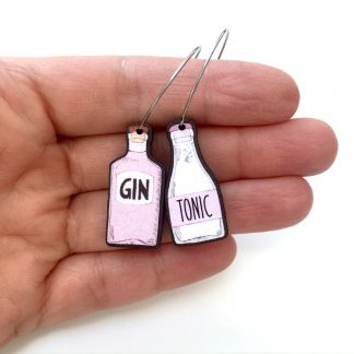 Pink gin tonic wooden drop earrings