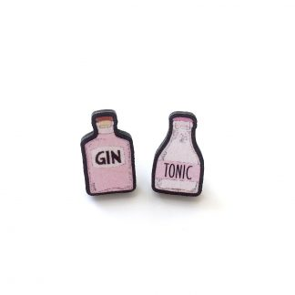 Pink gin tonic wooden stud earrings