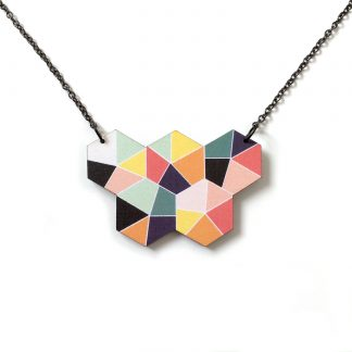 Handmade geometric wooden hexagon statement necklace
