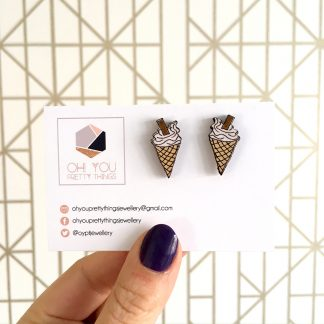 Cute wooden ice cream cone stud earrings