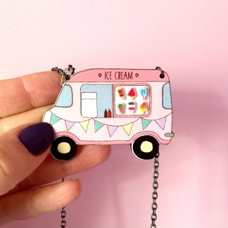 3D Ice cream van wooden handmade statement necklace