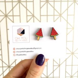 Ice lolly watermelon stud earrings