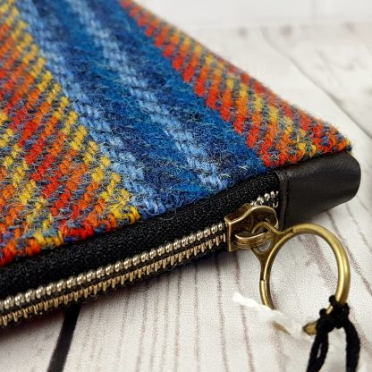 blue and yellow striped harris tweed cosmetic bag