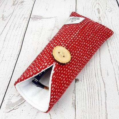 red and white harris tweed glasses case