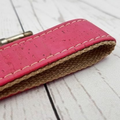 cerise pink cork leather keyring