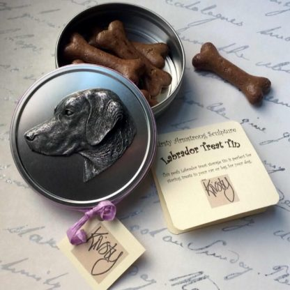Dog treat tin with sculpted Labrador head in metal on the lid