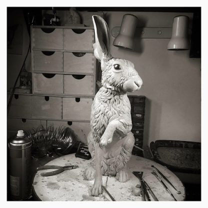 Hare sculpture created using traditional sculpting techniques