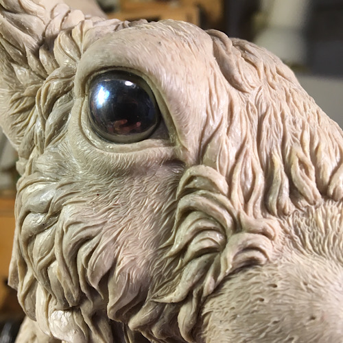 Close up of a Hare sculpture created using traditional sculpting techniques