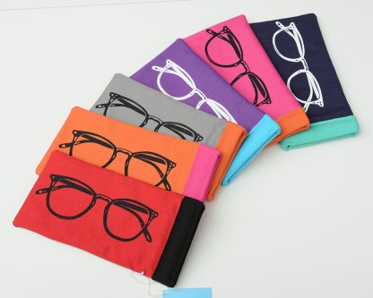 Screenprinted glasses case in bright colours