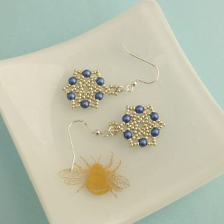Silver and Dark Blue Star Earrings