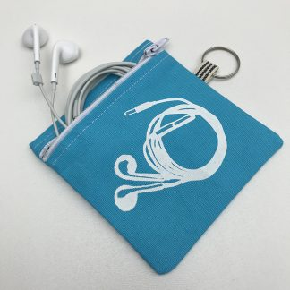 Turquoise earphone pouch with screen printed design