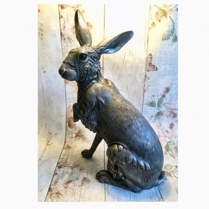Detailed life-like life size Hare Sculpture in cold-cast Pewter by sculptor Kirsty Armstrong