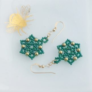 green and gold beaded star earrings