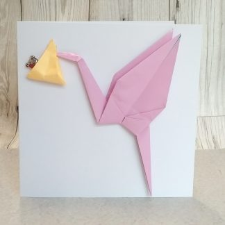 origami stork new baby card