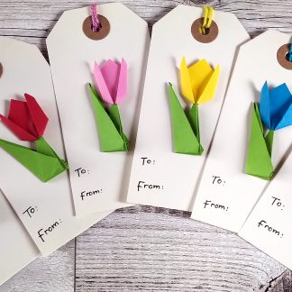 origami tulip gift tags