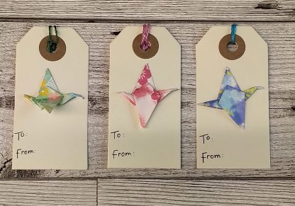 Origami crane gift tags - set of 3