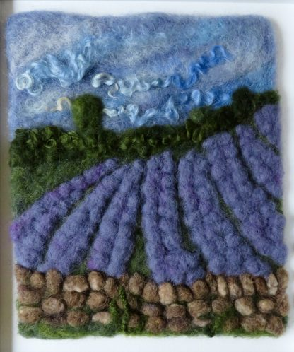Cotswold Lavender Needle Felted Painting