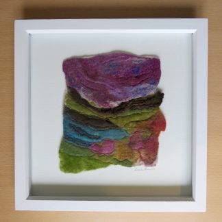 Handmade wet felt painting with free motion embroidery. Autumn Moorland. A Unique gift. Louise Hancox Textile Artist