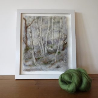 Needle Felted painting entitled Winter Woodland. Louise Hancox Textile Artist