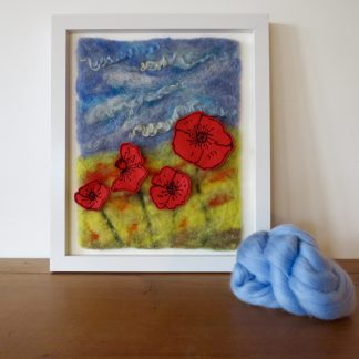 Needle felted painting entitled Fields of Gold by Louise Hancox Textile Artist