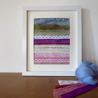 Confetti Fields appliqué textile painting by Louise Hancox textile Artist.