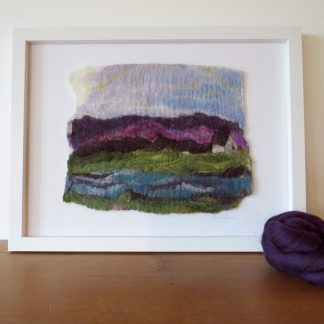 Depicts the wet felted painting entitled Moorland Reflections with a sample of the Merino wools used to create this piece.