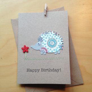 hedgehog card with hand sewn button