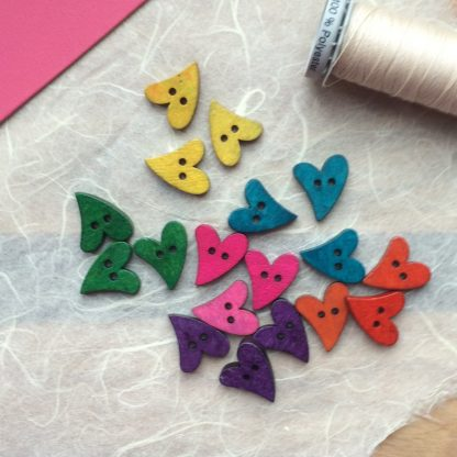 hand sewn wooden heart on mulberry paper greetings card buttons ready to stitch