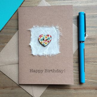 Floral Heart Button and Mulberry Paper Card with Hand Sewn Wooden Button