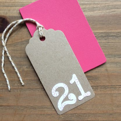 birthday number gift tag 21