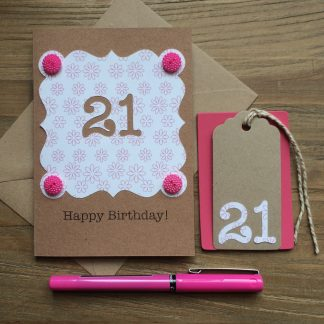 pink choose your number birthday card