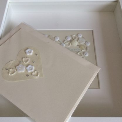 wedding card, hand sewn buttons, blank front