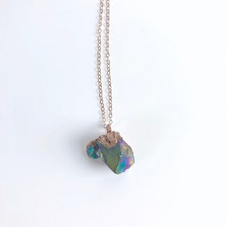 Rainbow Aura Electroformed Necklace