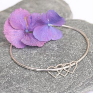 thistledown wishes sterling silver heart charm bangle