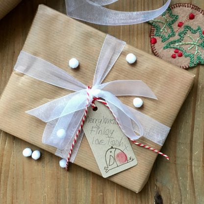 gift wrap with robin tag
