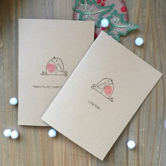 hand printed robin christmas cards set 8