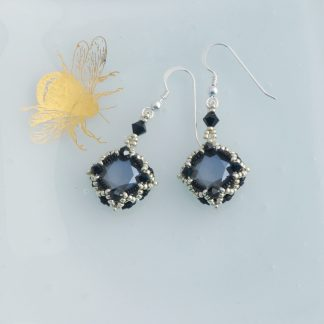 Art deco style black and silver crystal earrings