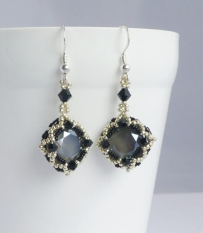 monochrome earrings with sterling silver earwires