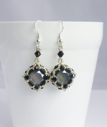 monochrome vintage style drop earrings