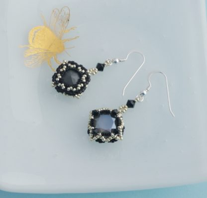 Grey silver and black handmade crystal earrings
