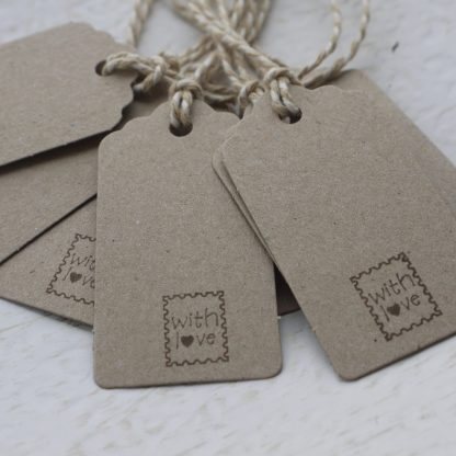 with love hand stamped gift tag
