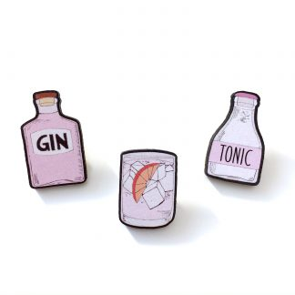 Pink gin tonic wooden pin brooch gift set