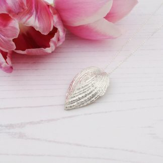 Silver Heart shaped shell Necklace