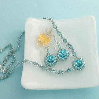 Aqua Necklace and Earrings Matching Jewellery Set