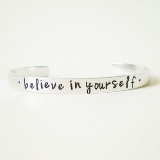 believe in yourself motivationalhand stamped cuff bracelet