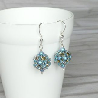 Iridescent turquoise beadwork ball earrings