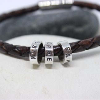 gents leather and silver name bead bracelet